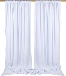 SHERWAY 2 Panels 4.9 Feet x 10 Feet Pure White Photography Backdrop Drapes, Thick Polyester Window Curtain for Wedding Party Ceremony Stage Décor