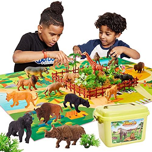 BUYGER 58 Pezzi Animali Plastica Giocattolo per Bambini, 13 Animali Giungla Selvaggio e Tappetino da Gioco, Regalo per Bambini 3 4 5 Anni