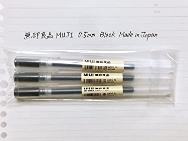 Muji Gel Ink Ballpoint Pen, Black, 0.5mm, 3 Pens (Japan Import)