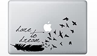 BLACK Dare to Dream Feather Turning into a Flock of Birds Quote Vinyl Decal Sticker