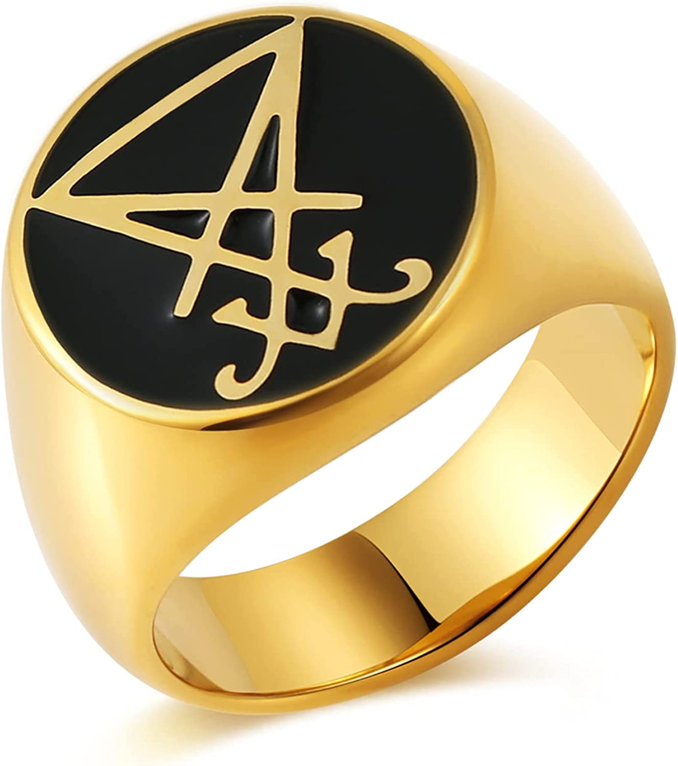 HZMAN Satan Lucifer Symbol Ring Gothic Stainless Steel Jewelry Mens Womens Size 7-12