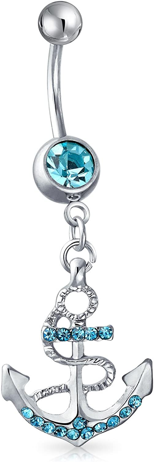 Bling Jewelry Nautical Anchor Dangle Bar Belly Ring for Women Aqua Blue Crystal 316L Stainless Steel 14 Gauge