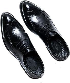 [ランボ] メンズ 革靴 ビジネスシューズ 紳士靴 歩きやすい 脱げない 痛くない 疲れない レースアップ シンプル 通気快適 就活 通勤 普段用 冠婚葬祭 春 夏 秋 冬 クラシック 黒 ブラウン 本革
