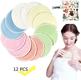 Bkinsety Organic Bamboo Nursing Pads 14 Pack Colored Breast Pads with 1 Laundry Bag Hypoallergenic Breastfeeding Pads Washable /& Reusable Ultra Soft Absorbent Nursing Pads