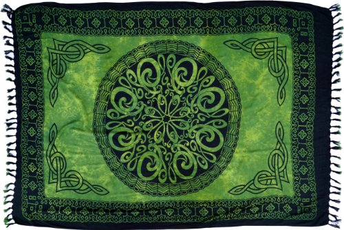 Guru-Shop Bali Sarong, Wandbehang, Wickelrock, Sarongkleid, Herren/Damen, Celtic Grün, Synthetisch, Size:One Size, 160x100 cm, Sarongs, Strandtücher Alternative Bekleidung