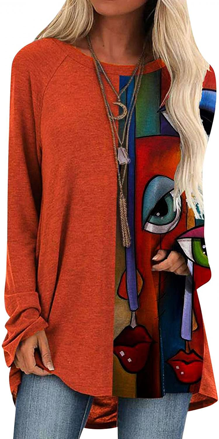 Hotkey Tunic Tops for Women to Wear with Leggings, Womens O-Neck Long Sleeve Tops Abstract Character Print Pullover Blouses