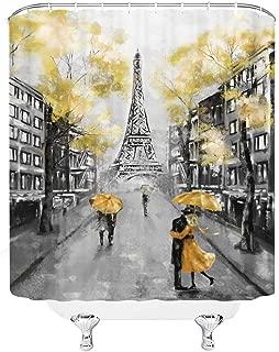 AMHNF Oil Painting Paris Shower Curtain Set European City Landscape France Eiffel Tower Modern Couple Black Yellow Fabric Bathroom Home Decor 72x72 Inch 12 Plastic Shower Hooks