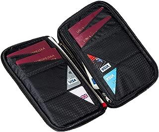 Travel Wallet: Family Passport Holder/RFID Blocking Document Organizer Case With Wristlet & Touch Pen (black)