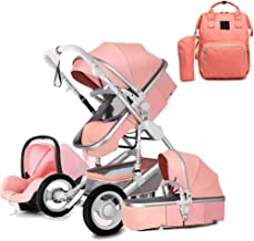 Blue GSJZ 3 in 1 Baby Stroller Carriage Foldable Luxury Pushchair Stroller Shock Absorption Springs High View Pram Baby Stroller with Mommy Bag and Rain Cover