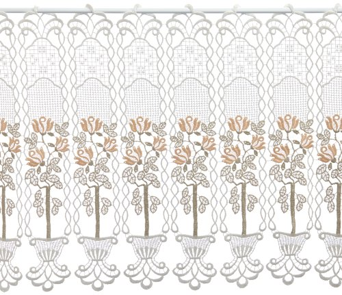 Plauener Spitze by Modespitze, Store Bistro Gardine Scheibengardine mit Stangendurchzug, hochwertige Stickerei, Höhe 50 cm, Breite 112 cm, Creme/Beige/Lachs