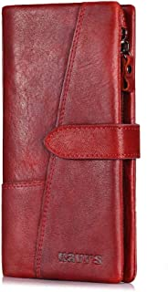 Mens Leather Bag Factory Supply Cowhand Fashion Stitching Long Leather Wallet Vintage Leather Lady Purse Handbag A Substitute for Hair Bag (Color : Red, Size : S)