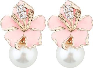Mecool Pendientes de gota con diseño de pétalos y perlas de imitación, con incrustaciones de circonita cúbica, color rosa