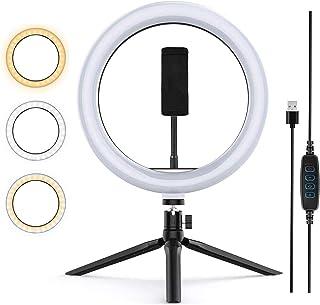 Zoeley Anillo de luz LED, Selfie Ring Light y Trípode 3 Colores Modo 12 Brillos Regulables, Aro de luz LED Rotación de 360...