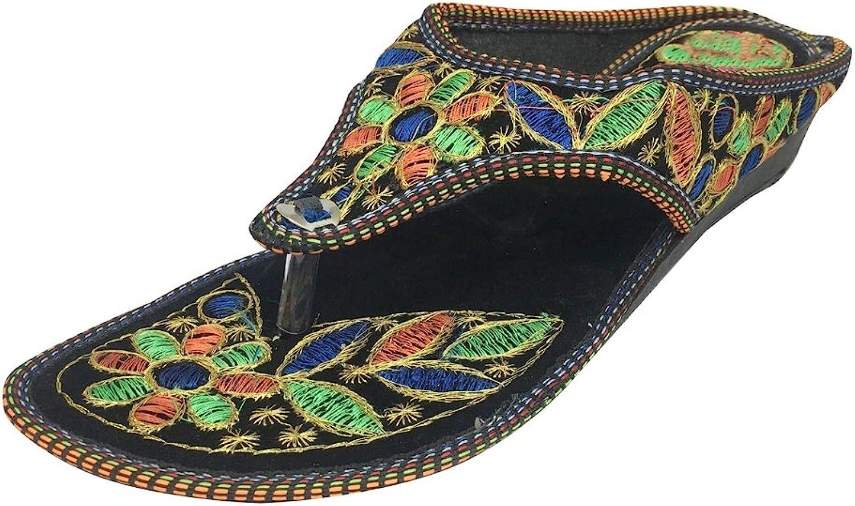 Step n Style Handembroided Flat Sandals Beaded Sandals Ethnic shoes Flat Mojari Juti