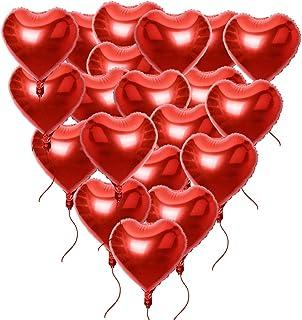 20 x Globos Metalicos de Corazón Rojo Helio para Boda Fiesta Amor 45cm (20pcs*18in) con Cintas