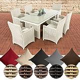 CLP Polyrattan Sitzgruppe Fontana Mit Polsterauflagen | Garten-Set: 1 Esstisch Mit Glasplatte und 6 Stühle, Farbe:perlweiß, Polsterfarbe:Cremeweiß