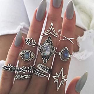 Yevison Womens Vintage Rings Set Boho Stacking Rings Crystal Finger Knuckle Midi Rings Gifts (11pcs) Durable and Useful