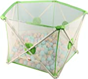 SXXDERTY-playard Foldable Baby Playpen  Washable Play yard for Baby Safety Play Pen for Infant and Baby  with Sturdy Bases  Anti-Skid Pads  Lightweight  Pentagon