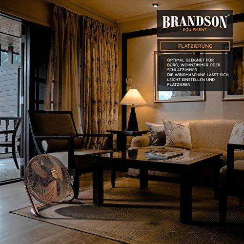 Brandson – Windmaschine Retro Stil | Ventilator in Kupfer | Standventilator 30cm | Tischventilator/Bodenventilator | hoher Luftdurchsatz | robuster Stand | stufenlos neigbarer Ventilatorkopf | Kupfer Bild 5*