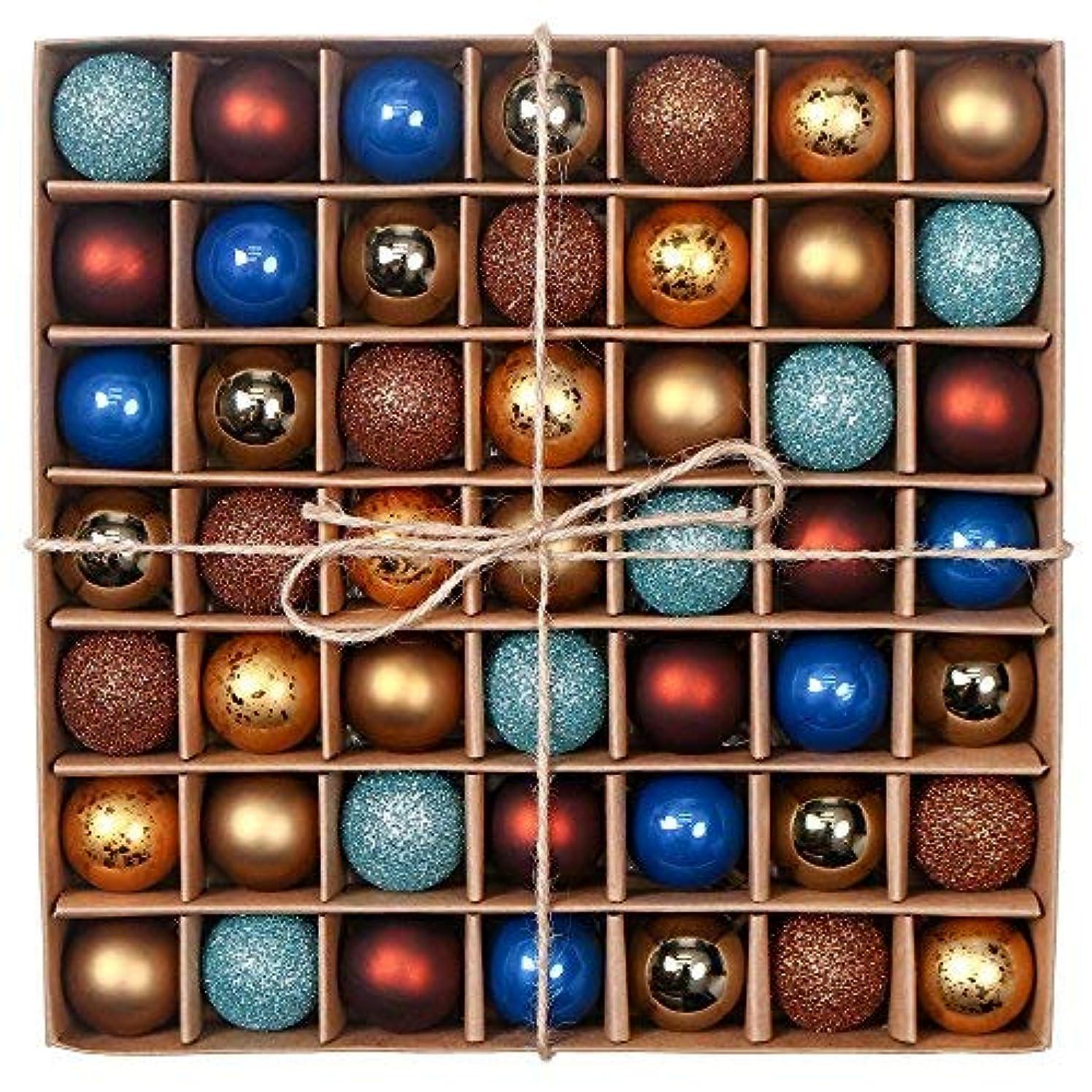 オーストラリア人構造枯渇するValery Madelyn 北欧風 3CM クリスマス オーナメント 49個 セット 銅金青色 ボールクリスマス ツリー 飾り 飾り付け おしゃれ ゴージャス 人気