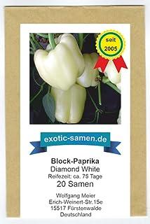 Weißes, süßes Blockpaprika - Diamond white - ein Hingucker - 20 Samen