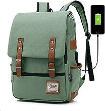 Professional Laptop Backpack, Women Vintage USB College School Bookbag - Green