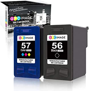 GPC Image Remanufactured Ink Cartridges for HP 56 & 57 C6656AN C6657A 56 57 Ink to use with Deskjet 5650 5550 5150, Photosmart 7350 7260 7450 7550, PSC 2210 Printer (1 Black,1 Tri-Color, 2-Pack)