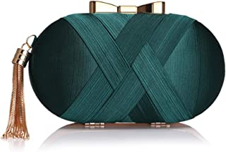 Oval Ladies Dinner Bag, Tassel Clutch Bag in Europe and America, Decorative Handbag for Ladies On Formal Occasions (19 * 7 * 10.5Cm),Green