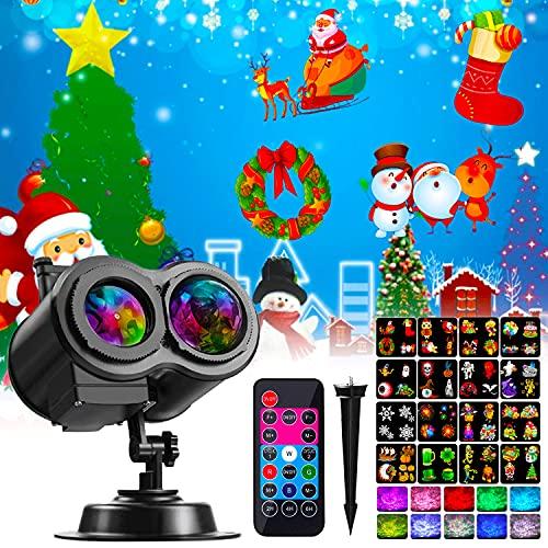 Xhaus Halloween Christmas Projector Lights, 2-in-1 Ocean Wave LED Waterproof Light Outdoor Indoor...