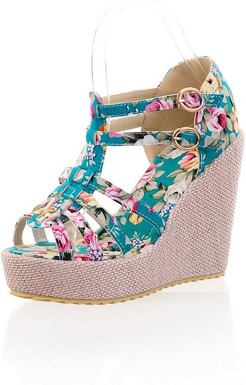 AmoonyFashion Womens Open Toe High Heel Wedge Platform Printing Fabric Solid Sandals, bluee, 7.5 B(M) US