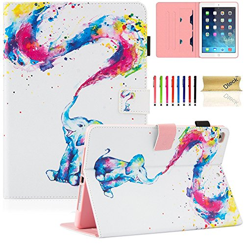 New iPad 2017/2018 9.7 Inch Case, Dteck PU Leather Smart Case with Auto Sleep/Wake for Apple iPad 9.7' 5th and New 6th Generation, Rainbow Elephant