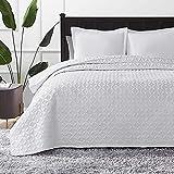 Hansleep Tagesdecke 240x260 cm Wohndecke weiß Bettüberwurf Mikrofaser Bettdecke für Schlafzimmer Stepp Decke Super Weich und Komfort Geeignet für Bett(Kreis)