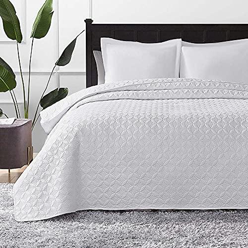 Hansleep Colcha 200x220 cm Manta Colcha Blanca Colcha de Microfibra para Dormitorio Manta Acolchada Super Suave y cómoda Adecuada para Cama (círculo)