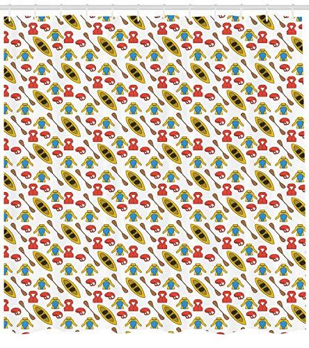 N\A Kanu-Duschvorhang, Hobby-Illustration im Freien mit Kanu-Paddelweste Extremsport-Themenmuster, Stoff-Stoff-Badezimmer-Dekor-Set mit mehrfarbigen Haken