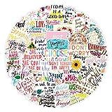 YMSD Inspiracional frase corta vsco etiqueta engomada alfabeto Inglés cuaderno personalidad ins impermeable termo taza equipaje pegatina pintura 50pcs