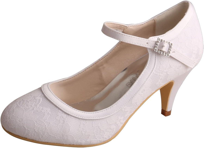 Wedopus WD7012 Women Closed Toe Kitten Heels Mary Jane Lace Buckle Wedding Bridal shoes