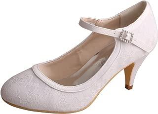 WD7012 Women Closed Toe Kitten Heels Mary Jane Lace Buckle Wedding Bridal Shoes