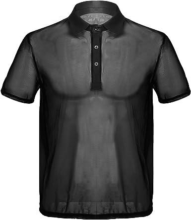 CHICTRY Camiseta de Manga Corta para Hombre Transparente Tops ...