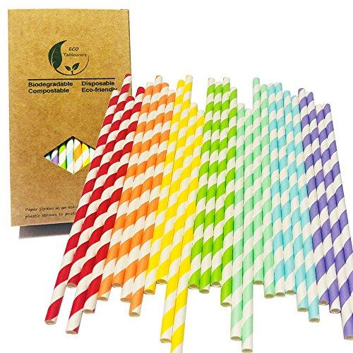Blanco y rojo/naranja/amarillo/verde/azul/azul/púrpura rayas mezcla colores 7 arco iris cóctel fiesta de papel potable, artículos de fiesta decorados y accesorios de fiesta para beber pajitas de pa