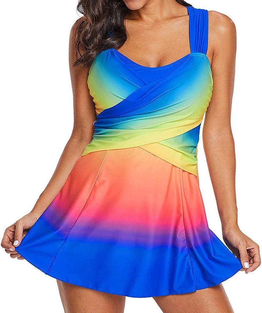 Rainbow Lady Tankini Swimdress Swimsuit Beachwear Padded Swimwear Plus Size Bikini
