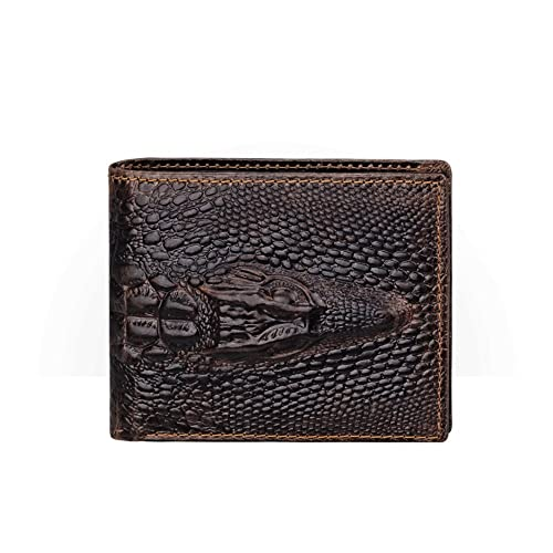 e2cc39557929 High Quality Mens Brown Genuine Leather Wallet with Credit Card Holder  Crocodile Pattern S