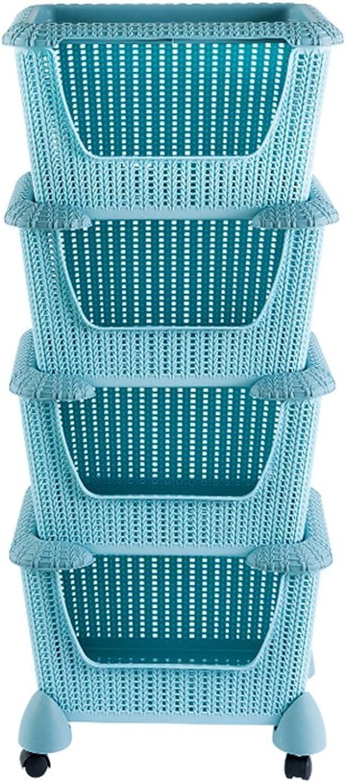 Storage Bins Organizer with wheels,Rolling Laundry Basket Heavy-Duty Sorting Hamper,bluee,4Tier
