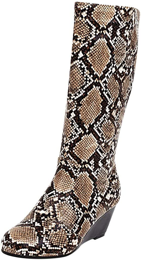 Mid Heel Knee-High Boot,RQWIEN Ladies Snakeskin Print Nightclub Boots Winter Chunky Block Pointed Toe Winter Ankle Bootie