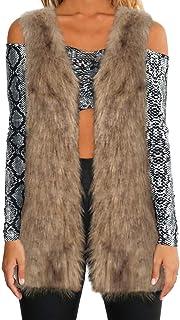 Mujeres cálida Chaqueta de Abrigo Engrosamiento Piel sintética Fox visón Parka Outwear Cardigan Chaleco