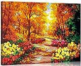 WONZOM DIY Pintar por Numeros Kits Montado en Marco de Madera con Pinceles y Acrílica Pinturas Pintura Kits sobre Lienzo para Adultos Niños Principiantes - Bosque de otoño 16 * 20 Pulgadas