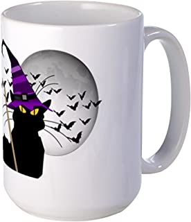 CafePress Le Chat Noir - Halloween Witch Mugs Coffee Mug, Large 15 oz. White Coffee Cup