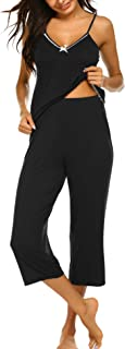 Ekouaer Womens Pajamas Set V-Neck Cami Top and Capris Pants Sleepwear Pjs Set S-XXL