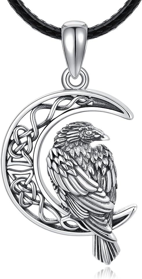 Adler Halskette, 925 Sterling Silber Mond Kette Schwarze Adler Anhänger Herren Leder Keltischer Knoten Halskette Wikinger Schmuck für Männer Adler Geschenke für Frauen Mädchen