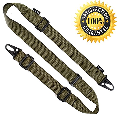 KAYLLE 2-Point Rifle Sling Mount - Premium Shotgun Sling with Upgraded Metal Hook Fits Any Weapon - Durable & Quick Length Adjust - Multi Use for Hunting, Sniper, Shooting (ArmyGreen)