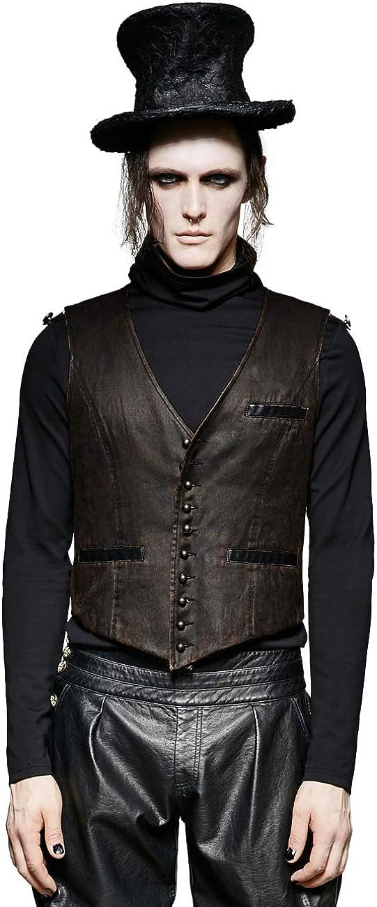 Punk Rave Steampunk Men Waistcoat Gothic Retro Military Sleeveless Vest